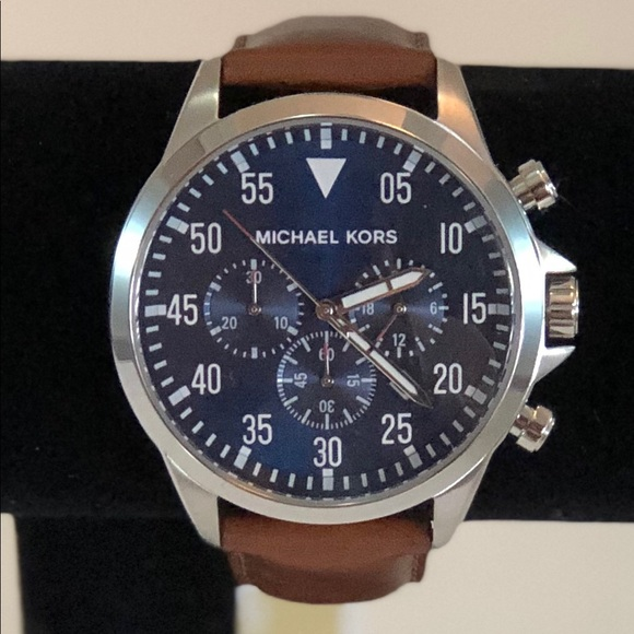 b1e41b80d Michael Kors Accessories | Mens Gage Brown Leather Strap Watch ...